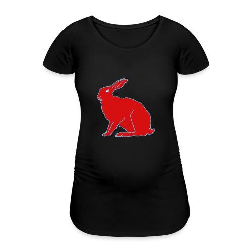 Roter Hase - Frauen Schwangerschafts-T-Shirt