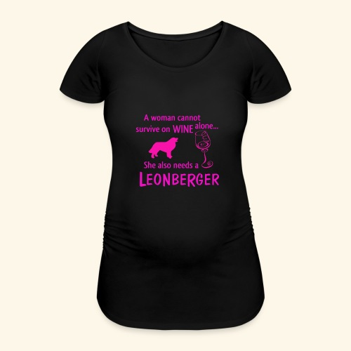 Wine&Leonberger - Gravid-T-shirt dam