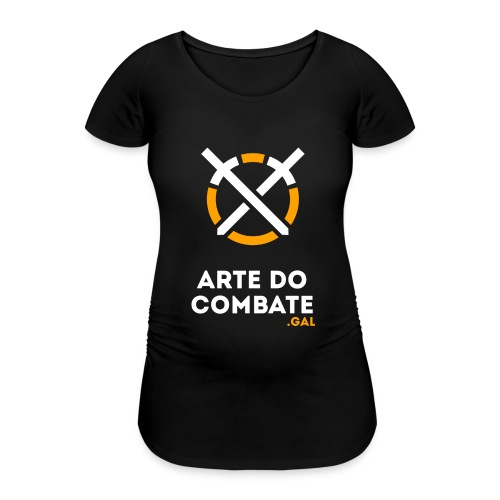 Logo «Arte do Combte» vertical sobre fundo preto - Camiseta premamá