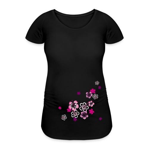 Hibiskus Babybauch schwanger Blumen - Frauen Schwangerschafts-T-Shirt