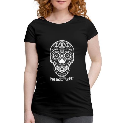 Skull & Logo white - Frauen Schwangerschafts-T-Shirt