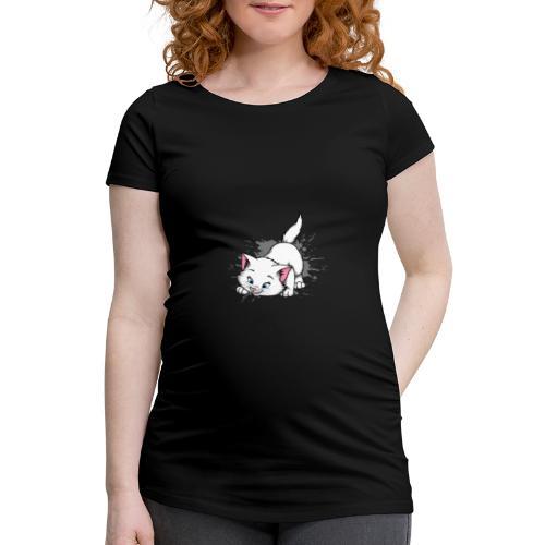 Katze Splash Pfützen Sprung - Frauen Schwangerschafts-T-Shirt