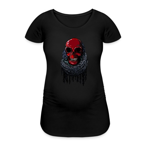 RED Skull in Chains - Women's Pregnancy T-Shirt