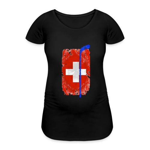 Schweizer Flagge Hockey - Frauen Schwangerschafts-T-Shirt