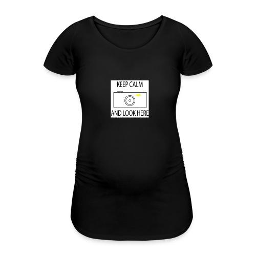 Keep calm and look here - Frauen Schwangerschafts-T-Shirt