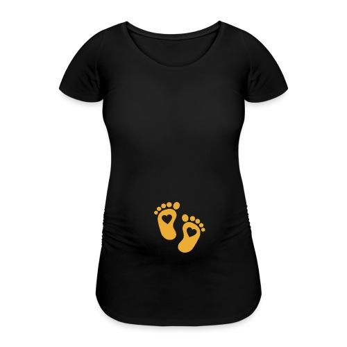 Fussabdrücke Herz Babybauch schwanger Geschenk - Frauen Schwangerschafts-T-Shirt