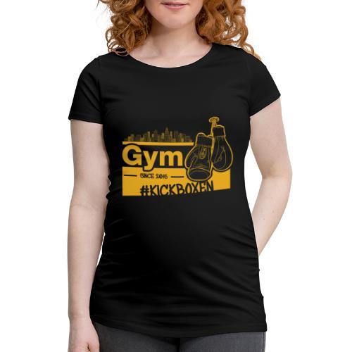 Gym Druckfarbe Orange - Frauen Schwangerschafts-T-Shirt