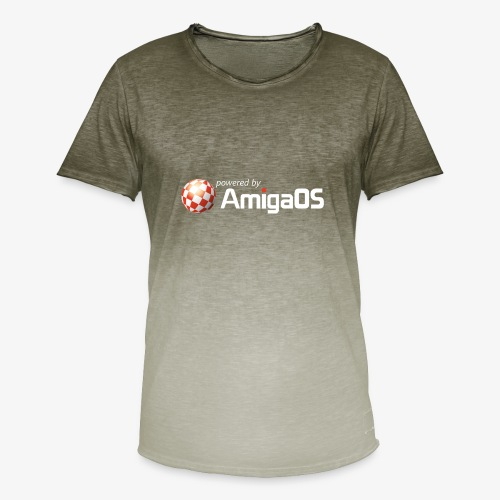PoweredByAmigaOS white - Men's T-Shirt with colour gradients