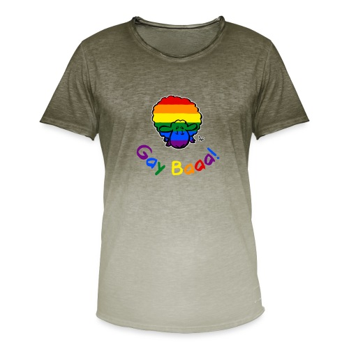 Gay Baaa! Pride Sheep (black edition rainbow text) - Men's T-Shirt with colour gradients