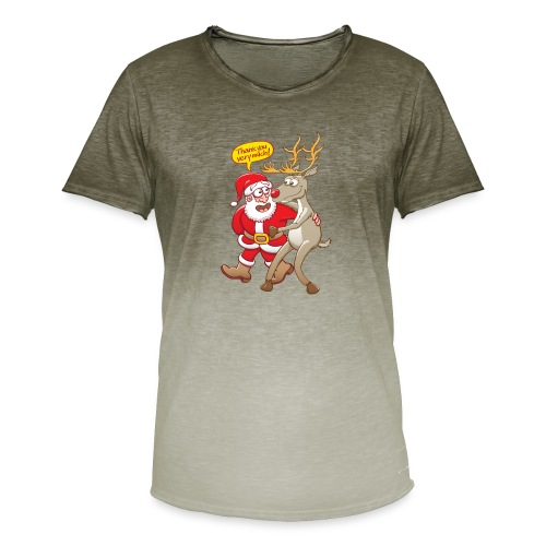 Santa thanks deeply to his red-nosed reindeer - Men's T-Shirt with colour gradients