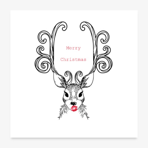 Cerf Merry Christmas - Poster 60 x 60 cm
