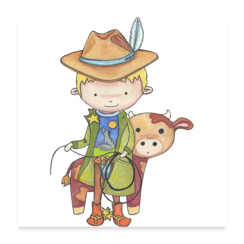 Maxou le cowboy - Poster 60 x 60 cm