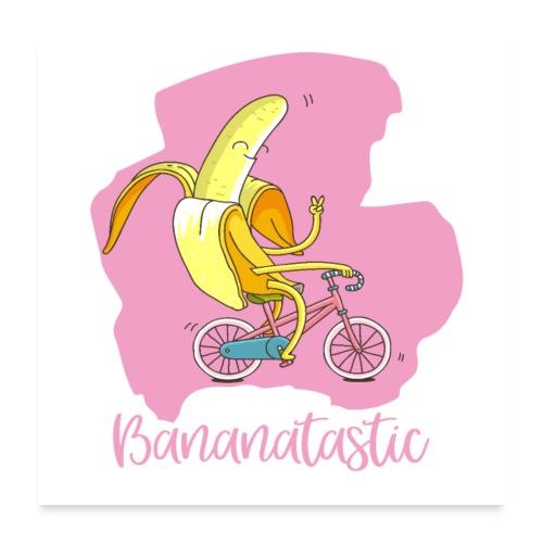 Bananatastic - Good mood banana on bike - Poster 24 x 24 (60x60 cm)