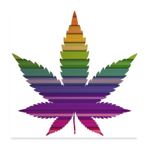 Weedblatt Design mit farbenfrohem Hintergrund - Poster 60x60 cm