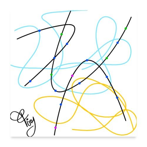 linee curve astratte geometriche - Poster 24 x 24 (60x60 cm)