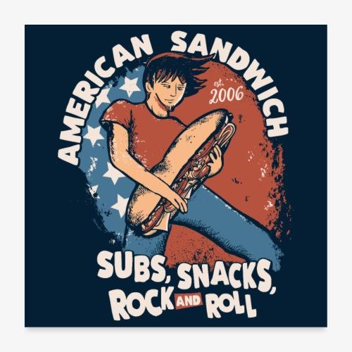 American Sandwich Rocker Poster dunkel - Poster 60x60 cm