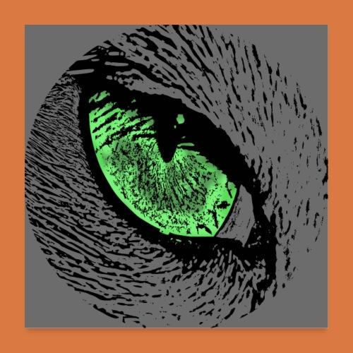 Katzenposter mit grünem Auge - Poster 60x60 cm
