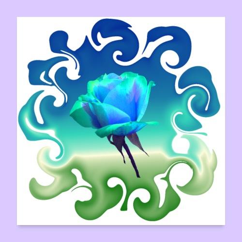 Traum in blau grün - einzigartige blaue Rose - Poster 60x60 cm