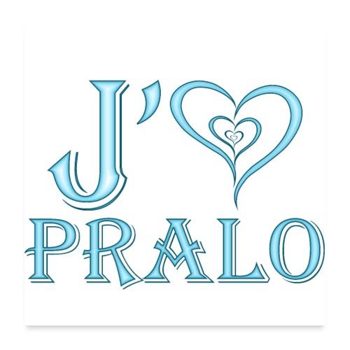 j aime pralo bleu - Poster 60 x 60 cm