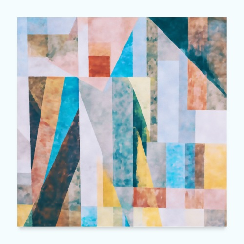 Abstract geometry watercolor - Poster 24 x 24 (60x60 cm)