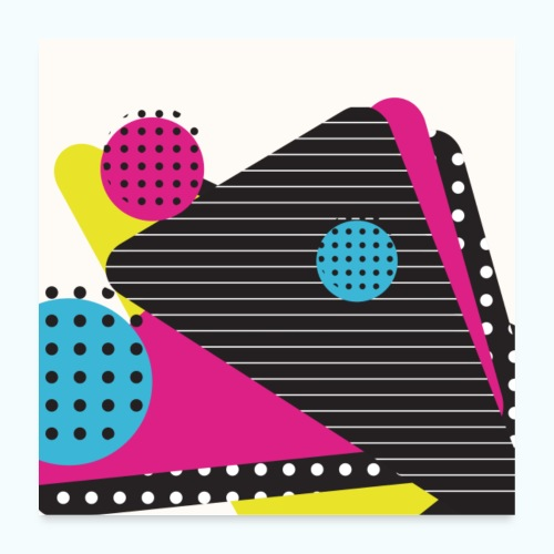 Abstract vintage shapes pink - Poster 24 x 24 (60x60 cm)