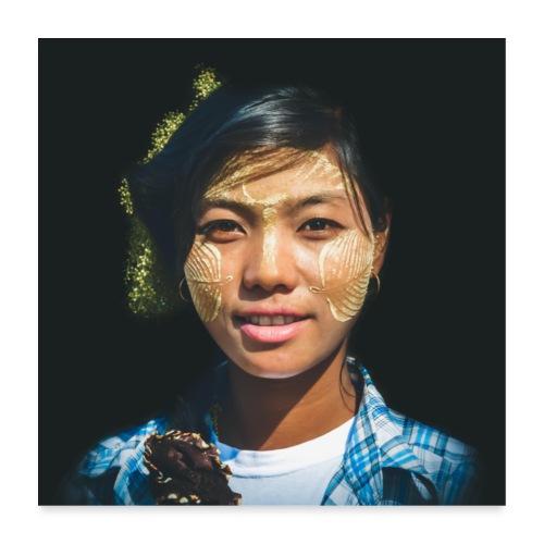 MYANMAR Jeune femme - Poster 60 x 60 cm