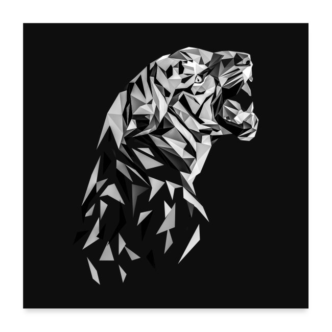 Polygon Art Cooles Tiger Low Poly Schwarz Weiss Poster Poster