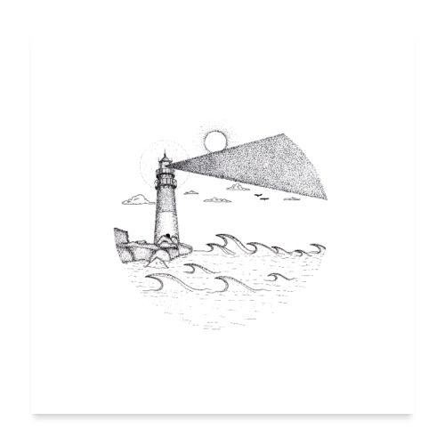 Leuchtturm am Meer - Poster 60x60 cm