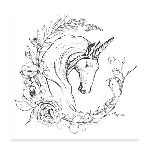 Unicorn and flowers - Poster 60x60 cm