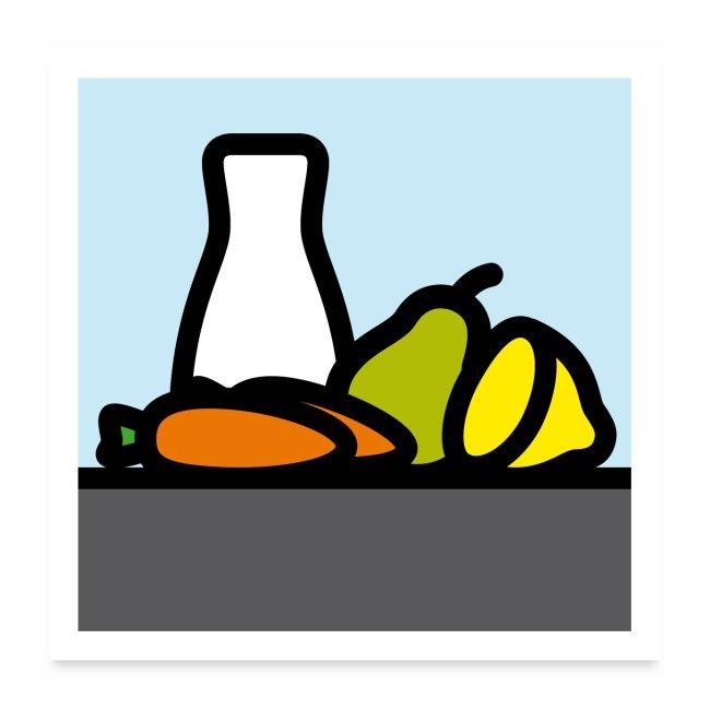 Stilleben mit Birne Karotten und Zitrone