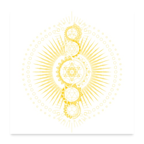 Sacred Geometry Metatron's Cube Gold Transcendence - Poster 24 x 24 (60x60 cm)