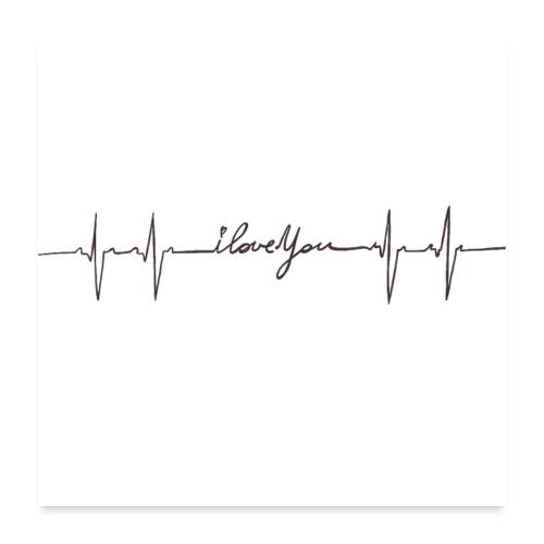 Ik hou van jou hartslag - Poster 60 x 60 cm