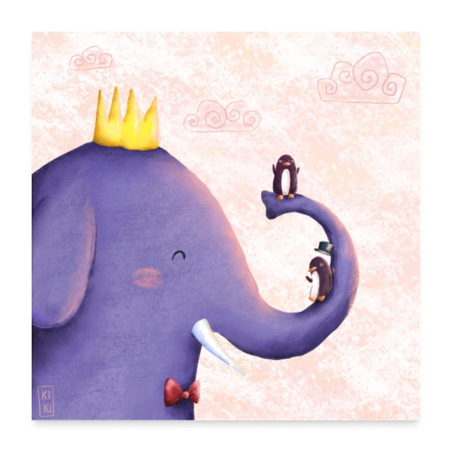 Elefantenspaß - Poster 60x60 cm