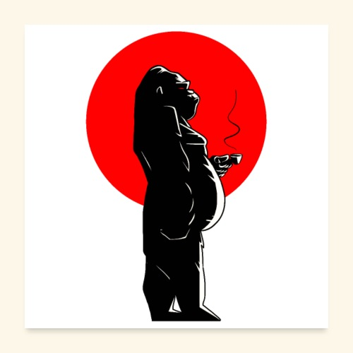 Coffee time & Gorilla - Poster 60 x 60 cm