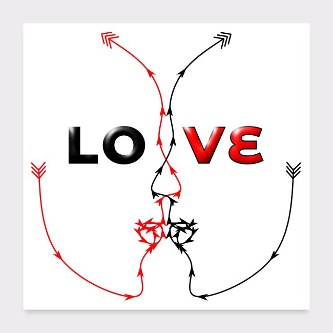 POSTER LOVE MINIMALISTIC LINEART Valentinstag Gesc