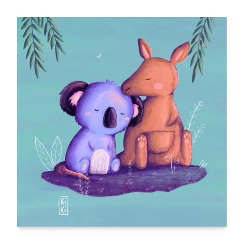 Känguru und Koala - Poster 60x60 cm