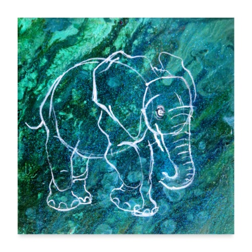 Elefant Pouring LineArt - Poster 60x60 cm