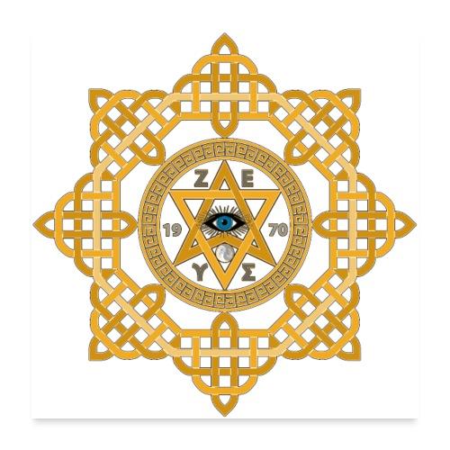 Hexagram ZEUS Mandala 1970 YinYang. 5. Dimension - Poster 60x60 cm
