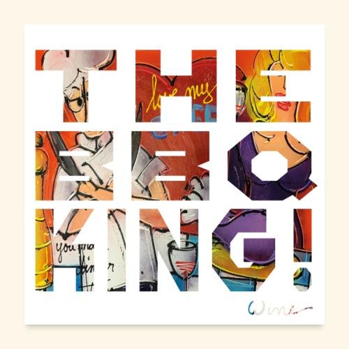 THE BBQ KING T SHIRTS TEKST - Poster 60x60 cm