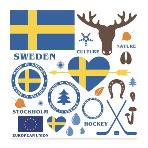 Sweden Sverige Norden - Poster 60x60 cm