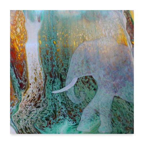 Elefant I Pouring I Wasserfall - Poster 60x60 cm