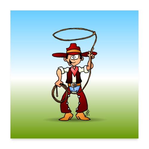 Cowboy with a lasso - Poster 24 x 24 (60x60 cm)