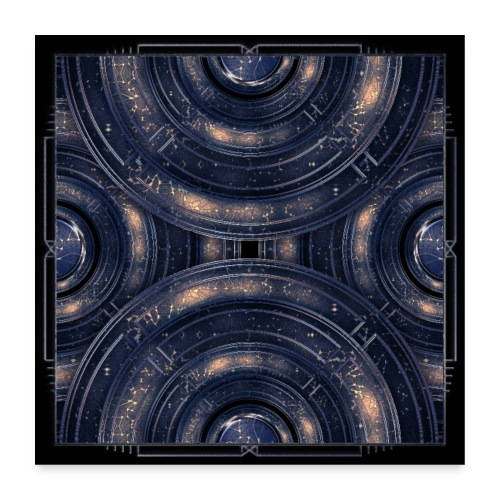 Cosmos universe abstract art in blue outer space - Poster 24 x 24 (60x60 cm)