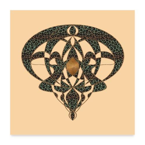 Jugendstil Art Nouveau Vintage Gift Beige - Poster 24 x 24 (60x60 cm)