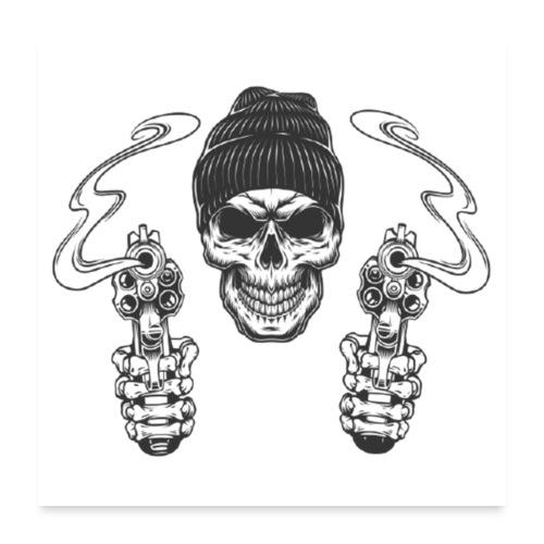 Gangster mit Mütze - Poster 60x60 cm