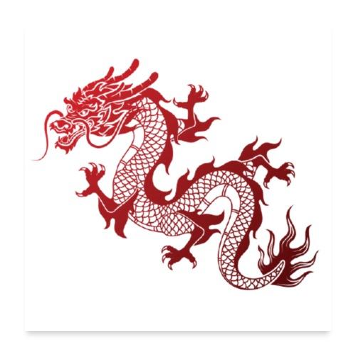 Roter Chinesischer Drache - Poster 60x60 cm