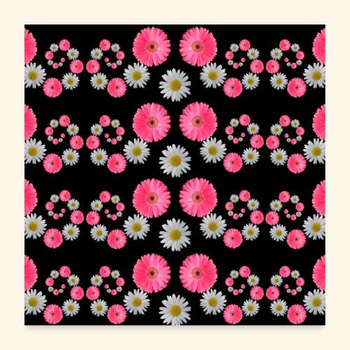 Blumen Margeriten Blüten pink floral blumig Blume - Poster 60x60 cm