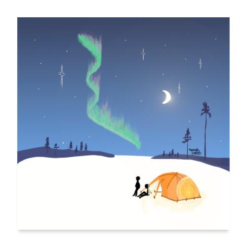 Chasse aux aurores boréales - Poster 60 x 60 cm