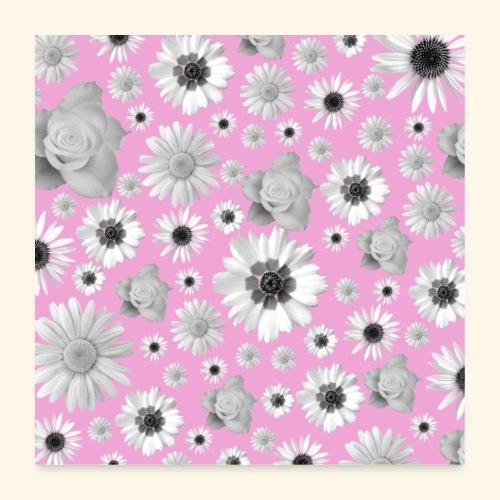 Blumen, Blume, Blüten, floral, Blumenranke, pink - Poster 60x60 cm