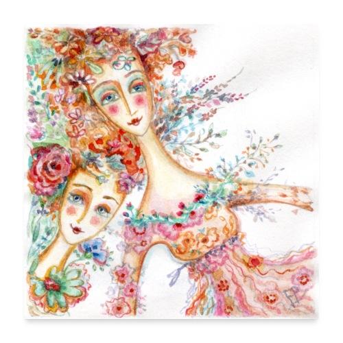 watercolor donnine 1200px - Poster 24 x 24 (60x60 cm)